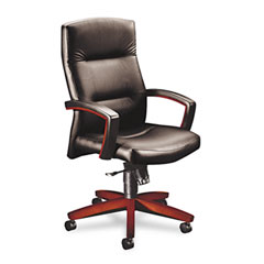 HON 5001NEE11 5000 Series Executive High-Back Swivel/Tilt Chair, Black Vinyl/Mahogany