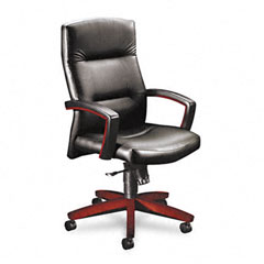 Hon - 5000 series executive high-back swivel/tilt chair, black leather/mahogany, sold as 1 ea