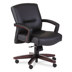 HON 5002NEE11 5000 Series Park Avenue Managerial Mid-Back Chair, Mahogany/Black Vinyl