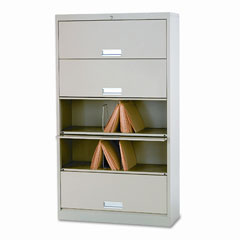 HON 625LL 600 Series 5-Shelf Steel Receding Door File, Ltr, 36W X 13-3/4D X 75-7/8H, Putty