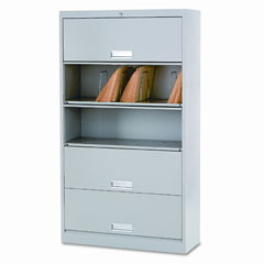HON 625LQ 600 Series 5-Shelf Steel Receding Door File, Ltr, 36W X 13-3/4D X 75-7/8H, Gray