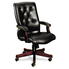 HON 6541NEJ10 6540 Series Executive High-Back Swivel Chair, Mahogany/Black Vinyl Upholstery