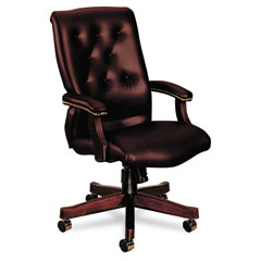 HON 6541NEJ65 6540 Series Executive High-Back Swivel Chair, Mahogany/Oxblood Vinyl Upholstery