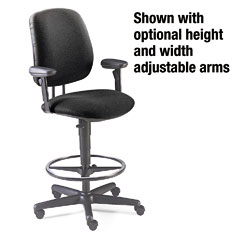 HON 7705AB10T 7700 Series Swivel Task Stool, Black