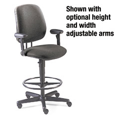 HON 7705AB12T 7700 Series Swivel Task Stool, Gray