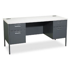 HON P3231G2S Metro Series Kneespace Credenza, 60W X 24D X 29-1/2H, Gray Patterned/Charcoal