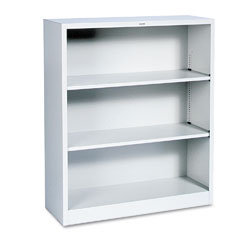 Hon - metal bookcase, 3 shelves, 34-1/2w x 12-5/8d x 41h, light gray, sold as 1 ea