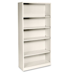 Hon - metal bookcase, 5 shelves, 34-1/2w x 12-5/8d x 71h, putty, sold as 1 ea