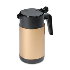 Hormel - poly lined carafe, wide mouth w/snap-off lid, 40 oz., capacity, black/gold, sold as 1 ea