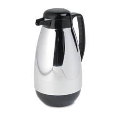 Hormel - vacuum glass lined chrome-plated carafe, 1-liter capacity, black trim, sold as 1 ea