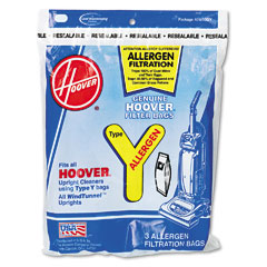 Hoover 4010100Y Disposable Allergen Filtration Bags For Commercial Windtunnel Vacuum, 3/Pack