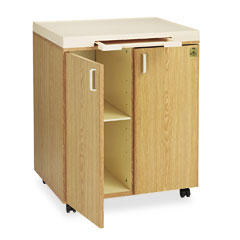 Iceberg 20100 Mobile Beverage Mate Cabinet, 2-Shelf, 28-1/4 X 21-3/4 X 35-3/4, Almond, Oak