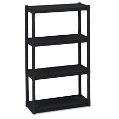 Iceberg 20841 Rough N Ready 4 Shelf Open Storage System, Resin, 32W X 13D X 54H, Black
