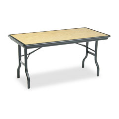 Iceberg 65119 Indestructable Resin Rectangular Folding Table, 60W X 30D X 29H, Oak
