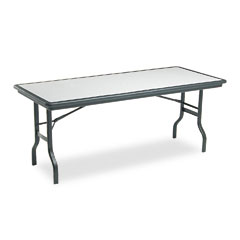 Iceberg 65127 Indestructable Resin Rectangular Folding Table, 72W X 30D X 29H, Granite