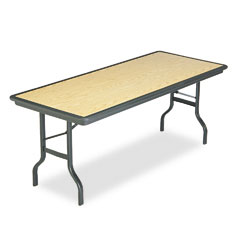 Iceberg 65129 Indestructable Resin Rectangular Folding Table, 72W X 30D X 29H, Oak