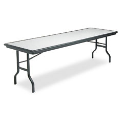 Iceberg 65137 Indestructable Resin Rectangular Folding Table, 96W X 30D X 29H, Granite