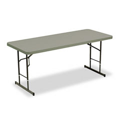 Iceberg 65627 Indestructable Too Adj Hgt Resin Folding Table, 72W X 30D X 25-35H, Charcoal