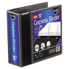 "Ideastream FT07075 Gapless Loop Ring View Binder, 11 X 8-1/2, 5"" Capacity, Black"