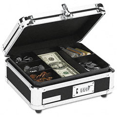 Vaultz - plastic & steel cash box w/tumbler lock, black & chrome, sold as 1 ea
