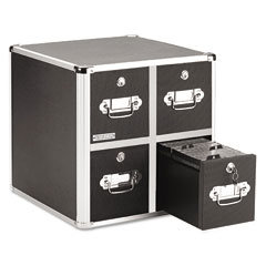 Vaultz - four-drawer cd file cabinet, holds 660 folders/240 slim/120 std. cases, sold as 1 ea