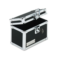 Vaultz - vaultz locking index card file with flip top holds 350 3 x 5 cards, black, sold as 1 ea