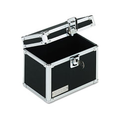 Vaultz - vaultz locking index card file with flip top holds 450 4 x 6 cards, black, sold as 1 ea