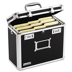 Vaultz - locking file tote storage box, letter, 13-3/4 x 7-1/4 x 12-1/4, black, sold as 1 ea