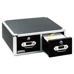 Ideastream VZ01397 Vaultz Locking 8 X 5 Two-Drawer Index Card Box, 3000-Card Capacity, Black