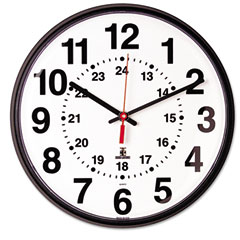 Chicago Lighthouse 67300040 Quartz 12-24 Hour Wall Clock, 12-3/4In, Black, 1 Aa Battery