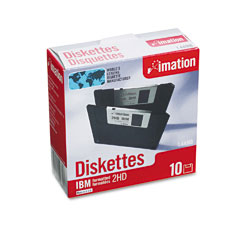 "Imation 12881 3.5""Floppy Diskettes, Ibm-Formatted, Ds/Hd, 10/Box"