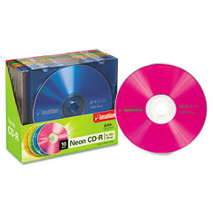 Imation 15794 Cd-R Discs, 700Mb/80Min, 40X, W/Slim Jewel Cases, Assorted Neon, 10/Pack