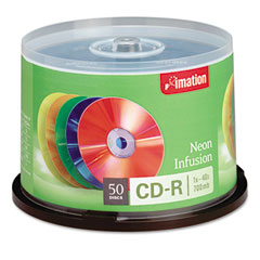 Imation 15808 Cd-R Discs, 700Mb/80Min, 40X, Spindle, Assorted Neon, 50/Pack