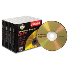 Imation 16559 Cd-Rw Discs, 700Mb/80Min, 4X, W/Slim Jewel Cases, Gold, 10/Box