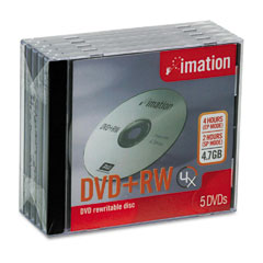 Imation 16804 Dvd+Rw Discs, 4.7Gb, 4X, W/Jewel Cases, Silver, 5/Pack