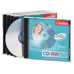 Imation 16950 Cd-Rw Discs, 700Mb/80Min, 12X, W/Jewel Cases, Silver, 5/Pack