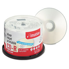 Imation 17036 Printable Cd-R Discs, 700Mb/80Min, 52X, Spindle, Silver, 50/Pack