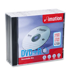 Imation 17193 Dvd+R Discs, 4.7Gb, 16X, W/Jewel Cases, Silver, 5/Pack