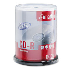 Imation 17262 Cd-R Discs, 700Mb/80Min, 52X, Spindle, Branded, Silver, 100/Pk