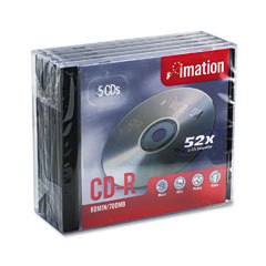 Imation 17284 Cd-R Discs, 700Mb/80Min, 52X, W/Jewel Cases, Silver, 5/Pack