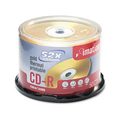 Imation 17300 Cd-R Discs, 700Mb/80Min, 52X, Spindle, Gold, 50/Pack