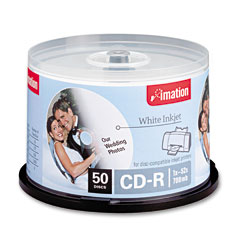 Imation 17304 Cd-R Discs, 700Mb/80Min, 52X, Spindle, Matte White, 50/Pack