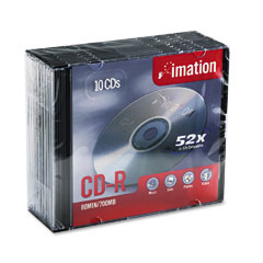 Imation 17332 Cd-R Discs, 700Mb/80Min, 52X, W/Slim Jewel Cases, Silver, 10/Pack
