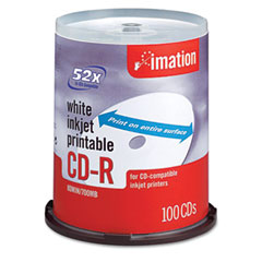 Imation 17334 Cd-R Discs, 700Mb/80Min, 52X, Spindle, Matte White, 100/Pack