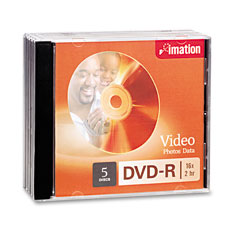 Imation 17339 Dvd-R Discs, 4.7Gb, 16X, W/Jewel Cases, Silver, 5/Pack