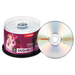Imation 17343 Dvd+R Recordable Discs On Spindle, 4.7Gb, Silver, 50/Pack