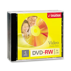 Imation 17345 Dvd-Rw Discs, 4.7Gb, 4X, W/Jewel Cases, Silver, 5/Pack
