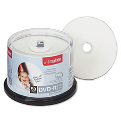 Imation 17350 Inkjet Printable Dvd-R Discs, 4.7Gb, 16X, Spindle, White, 50/Pack