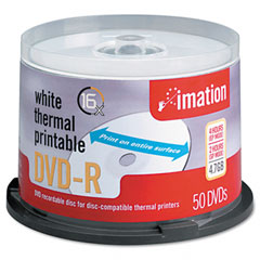 Imation 17352 Thermal Printable Dvd-R Discs, 4.7Gb, 16X, Spindle, White, 50/Pack