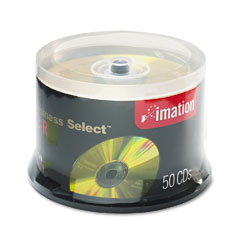 Imation IMN17357 Business Select CD-R Discs, 700MB/80min, 52x, Spindle, Gold, 50/Pack